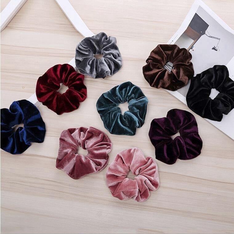 Velvet Hair Scrunchies Accessories Women's big winter Ponytail Holder Velour Scrunchy Hair Bun wraps bands Headwear 60pcs FJ3350