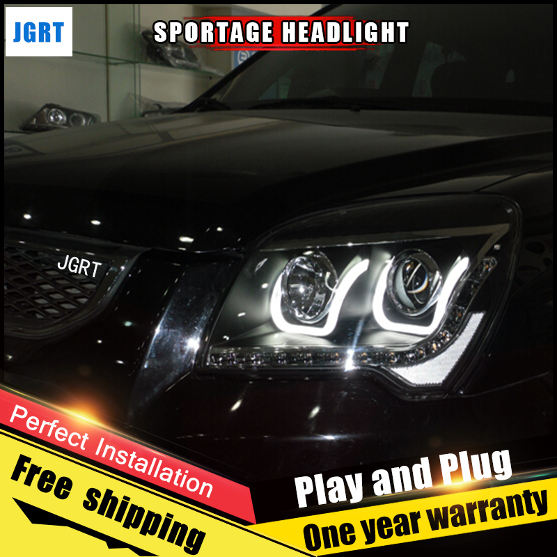 Car Style LED headlights for kia Sportage 2007-2013 for sportage head lamp LED DRL Lens Double Beam H7 HID Xenon bi xenon lens