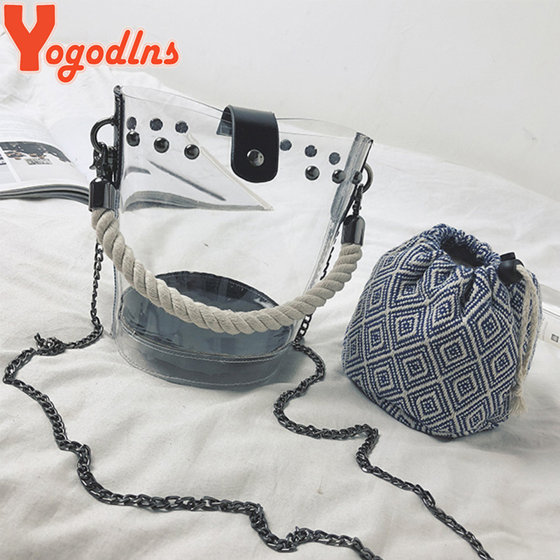Yogodlns Fashion Women Handbags Transparent Jelly Bag 2019 New Chain Crossbody Bucket Bags Females Beach Bags Composite Bag 1