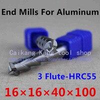 New 3 Flute Head: 16mm Aluminum cutter End mill Milling of aluminum Cutting Hardness: 55HRC CNC Tool 3F16*16*40*100mm