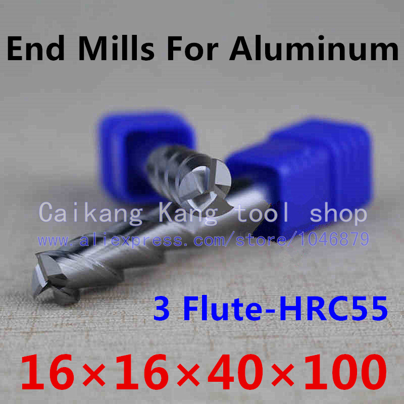 New 3 Flute Head: 16mm Aluminum cutter End mill Milling of aluminum Cutting Hardness: 55HRC CNC Tool 3F16*16*40*100mm oem qq 55hrc 420
