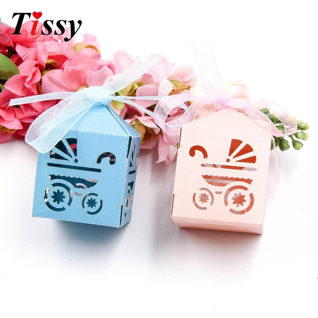 Us 2 14 16 Off 10pcs Sweet Candy Box Baby Carriage Paperboard Gift Boxes Decor Boy Girl Birthday Party Decoration Baby Shower Diy Supplies In Gift
