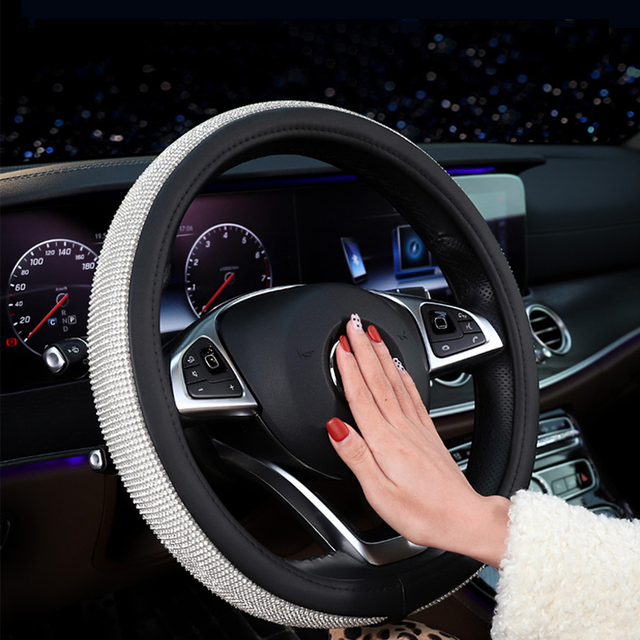 Car Accessories Steering Wheel Covers Cap 38cm Leather Crystal Rhinestone Auto Steering Wheel Covers For Women Girls Car-styling
