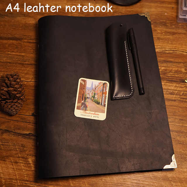 a4 size handmade notebook genuine leather cover travel journal