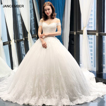 J66712 jancember lace wedding dresses plus size sexy off the shoulder wedding gowns with long train vestido de noiva sereia 2019(China)