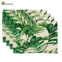 HAKOONA 4 Pieces Placemats Green Leaves Printed Table Napkins Cotton Linen Fabric Table Decoration Tea Towels