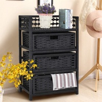 3 Drawers Wicker Baskets Storage Chest Rack Hand Towels & Washcloths Utility Cabinet with 3 Baskets Multiple Uses HW56446