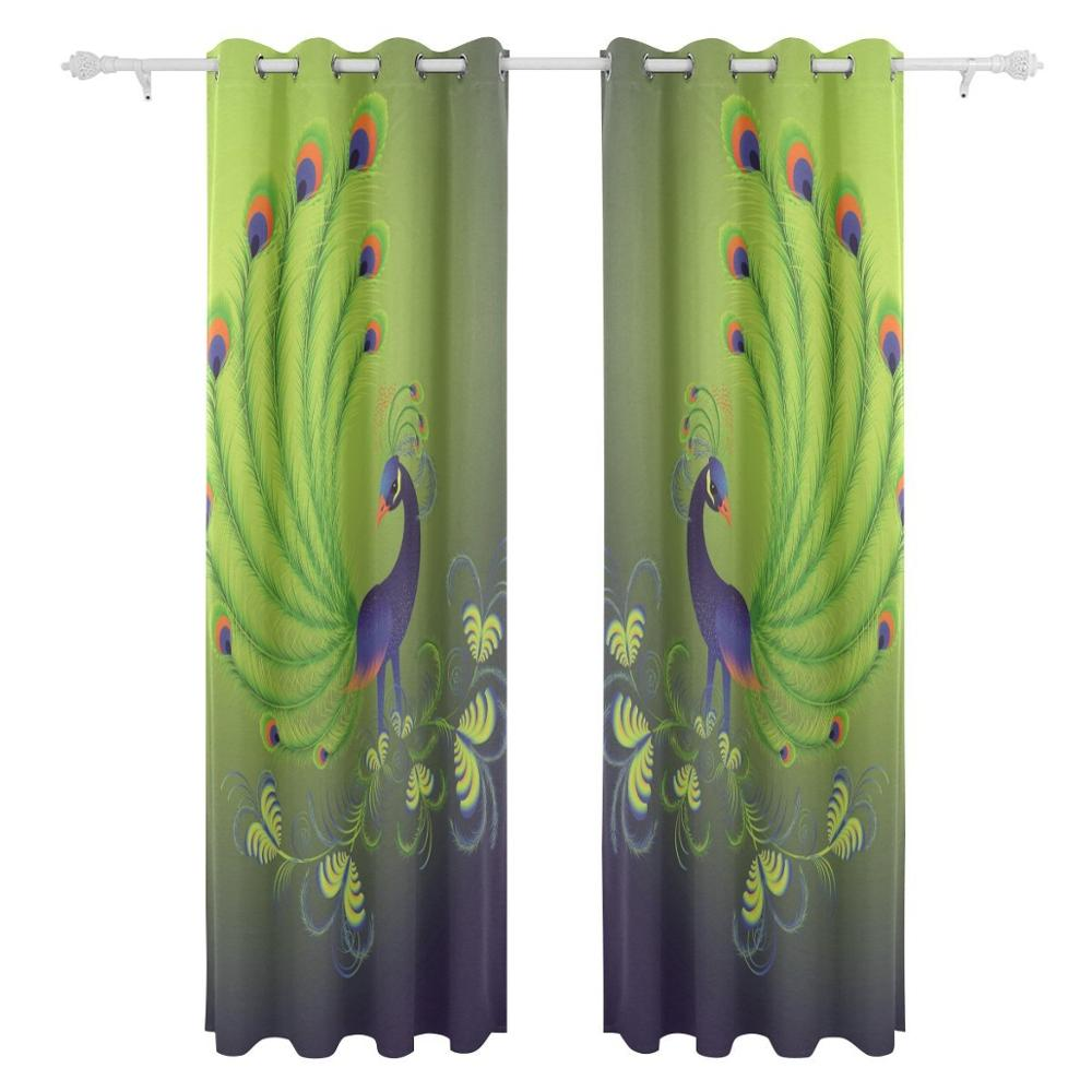 Peacock Feathers Curtains Drapes Panels Darkening Blackout Grommet Room  Divider For Patio Window Sliding Glass Door 55x84 Inches In Curtains From  Home ...