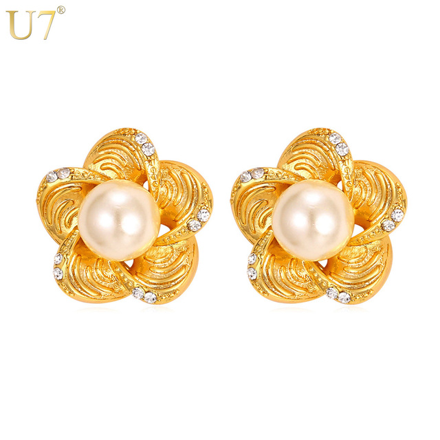 U7 New Flower Earrings With Freshwater Pearls Gold Color Fashion Jewelry Trendy Stud Simulated Pearl