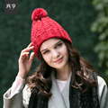 Lady Autumn and Winter Hair Ball Cap Women Knitted Hat Plus Size Woven Wool Cap Warm Baotou Kraft Hat New Year Gift B-4595