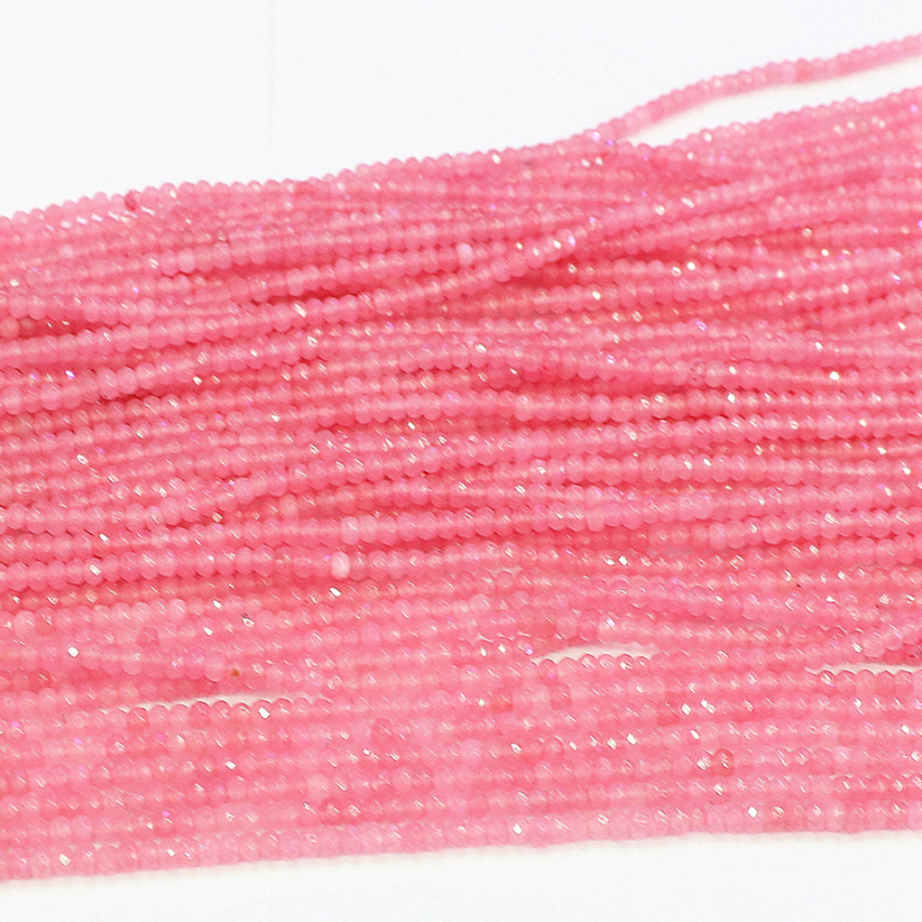 Lovely pink crystal chalcedony jades <font><b>natural</b></font> <font><b>stone</b></font> <font><b>2x4mm</b></font> faceted abacus jewelry beads spacers accessories findings 15inch B560 image