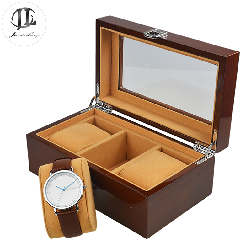2018 Watch Boxes Wood 3 Grids Fashion Luxury Watch Box Jewelry Storage Durable Case Box With Pillow Recollection Organizer Gifts fashion watch box luxury wood watch box with pillow package case watch jewelry storage gift box