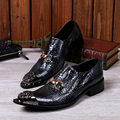 Christia Bella Genuine Leather Snakeskin Men Shoes Italian Pointed Toe Wedding Business Suit Dress Shoes for Men Flats Plus Size