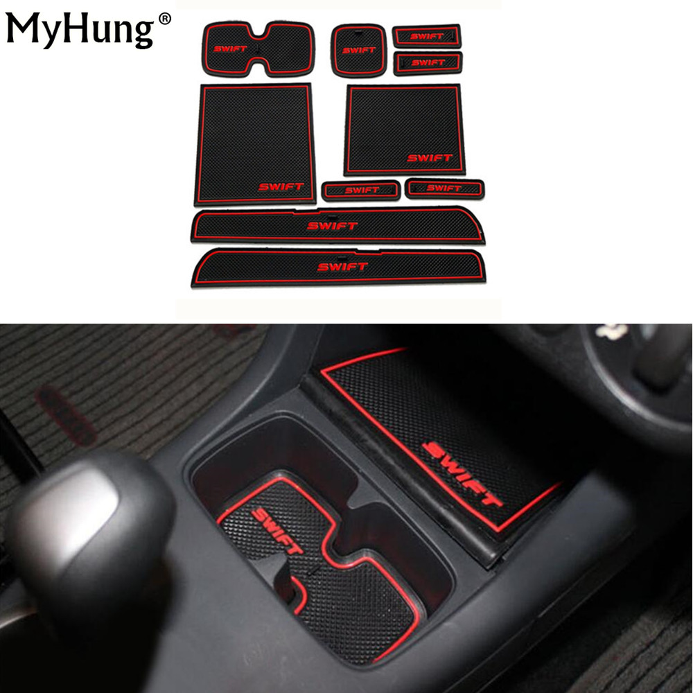 Newest Fit For Suzuki Swift 2005 To 2014 Anti-Slip Car Door Groove Mat Latex Non-Slip Mats Interior Cup Pad Car Styling 10pcs