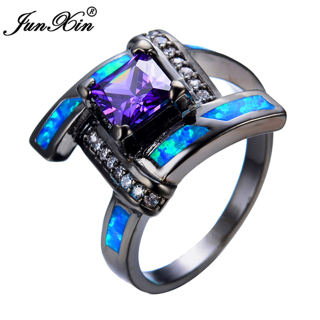 JUNXIN Geometric Design Blue Opal Purple Ring Black Gold Filled Women Wedding Jewelry Promise Rings For Couple RB0540