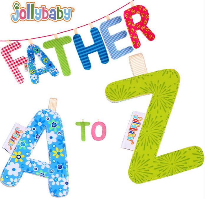 26pcs set Jollybaby Baby Letter Book A Z Letter Cloth Book Bed Hanging Colorful Letters Baby