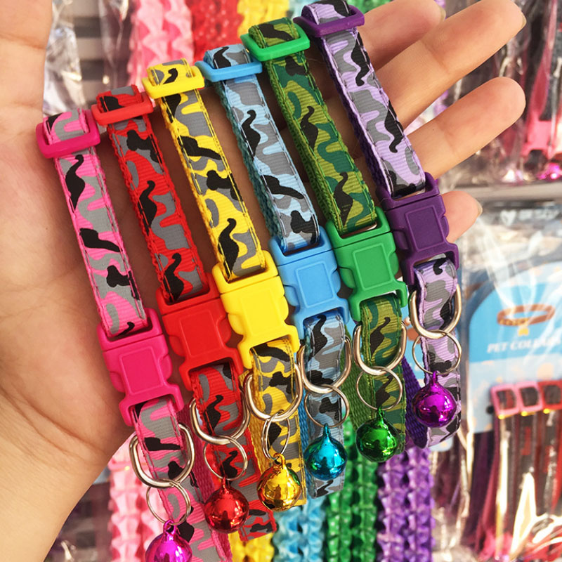 Hot Safety Casual Nylon Dog Collar  Neck Strap  Fashion Adjustable Likesome Camo Bell Pet Collar Delicate  Dog Breakaway
