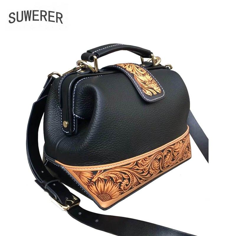 Neue Tasche Handtasche Hohe Qualität Messenger Black Handgemachte blue Technik Carving blue Luxus Schulter 2019 Wildleder Leder black dAYqnt7dEw
