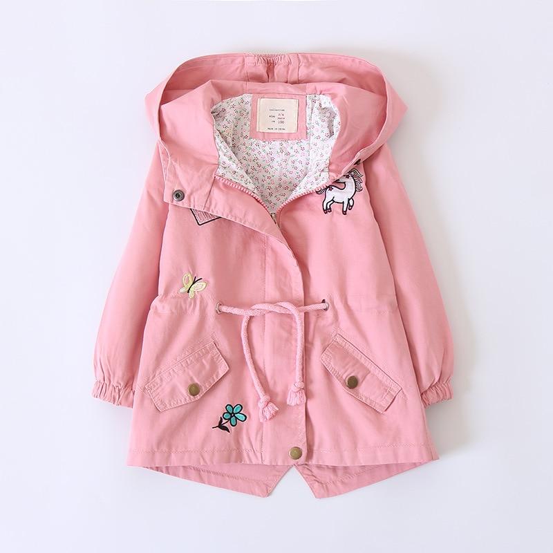 New fashion girls clothes long sleeve hoody jackets pink cartoon horse belt coat children winter autumn outerwear