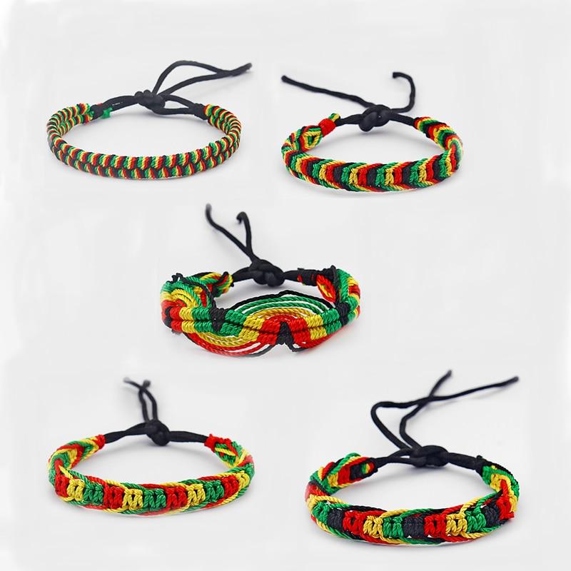 5pcs Mixed Rasta Friendship Bracelet WRISTBAND Cotton Silk Reggae Jamaica Surfer Boho