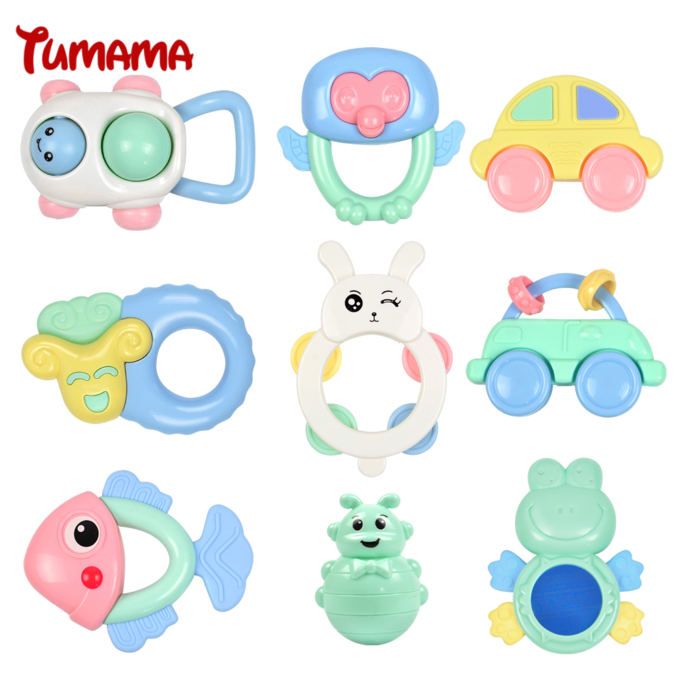 лучшая цена Tumama 9pcs/set Baby Rattles Toy Grasping Gums Plastic Hand Bell Jingle Shaking Rattle Toddler Educational Mobiles Music Toys