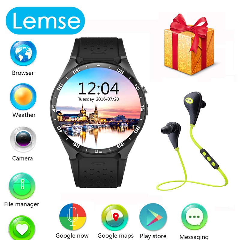 Smart Watch Android 5 1 BT 4 0 Support WIFI GPS Google map Voice assistant 512MB
