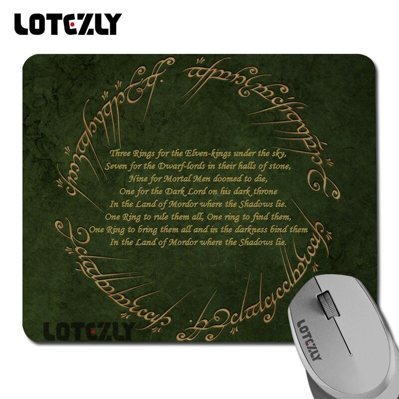 Sıcak yüzüklerin efendisi şiir silvador Desen stil Dayanıklı Optik tarafından Kauçuk Dizüstü Mouse Pad Oyun Dikdörtgen Mouse Pad