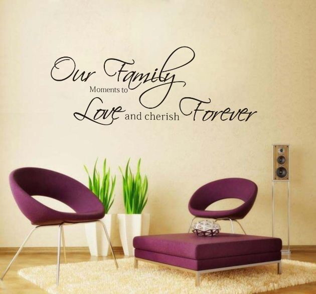 Fashion Our Family Moments Love Forever Removable Vinyl Wall Art Word Sticker drawing room Wall Decal Quote home Decoration