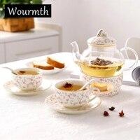 Wourmth juego de té perfumado té tetera cerámica pedestal tarde té hervido té pyrex tetera