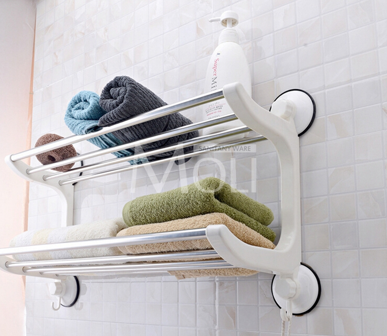 Plastic stainless steel towel holder suction cup towel rack with ...