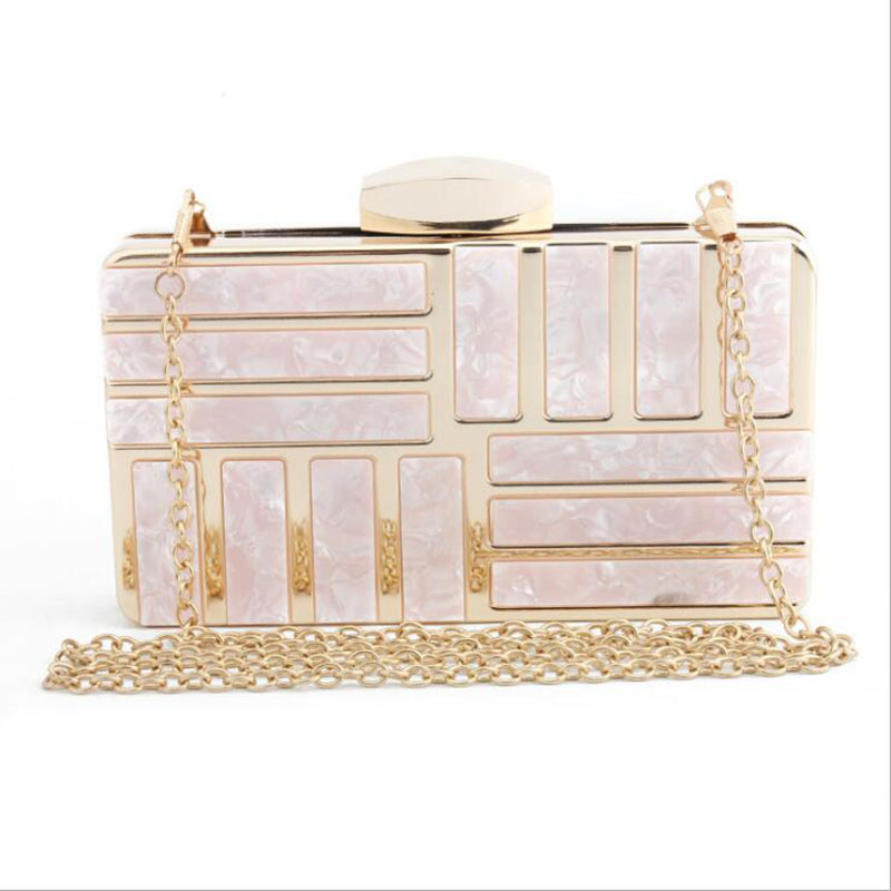 Marble Acrylic Evening Bags Geometric Metal Frame Ladies Handbag Designer Wedding Bag Handbag Party Shoulder Hard Purse Pink