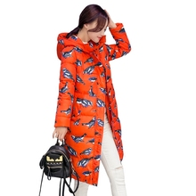 2016 Winter Women s Overcoat thick knee fashion hooded down cotton printing jacket Parka female long