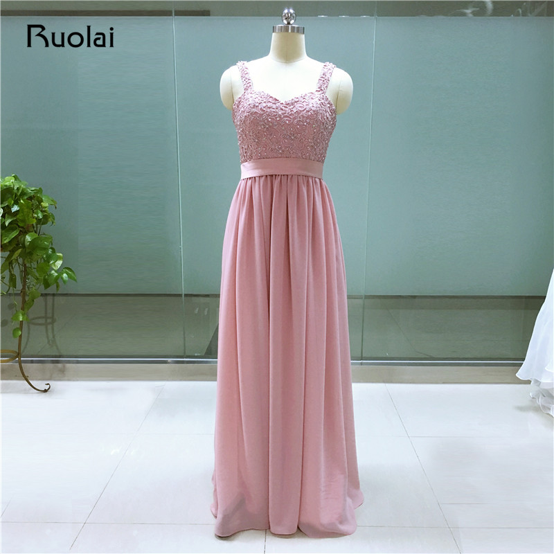 Cheap Real Image Sweetheart Straps A-Line Appliques Beaded Long   Bridesmaid     Dresses   Wedding Party   Dresses   for   Bridesmaid   BM10