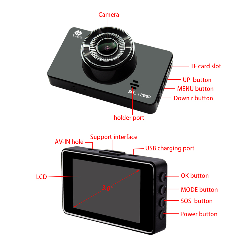 Image 3 - E ACE Mini Dash Camara Video Recorder Car Dvr Voice Contro Full HD 1296P 3.0 Inch Dashcam Auto Registrator Nigh Vision Dual Lens-in DVR/Dash Camera from Automobiles & Motorcycles