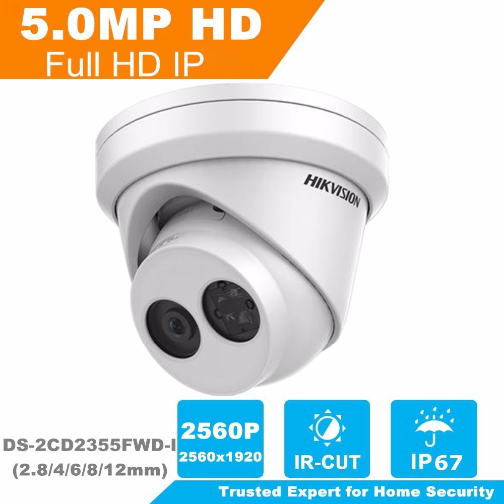 HIKVISION New H.265 IP Camera 5MP Network Turret IP Camera DS-2CD2355FWD-I English Version Security Camera Built-in SD card Slot
