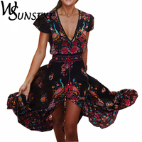 Wsunsexe Boho Floral Printed Long Dress Women 2017 Summer Chiffon V Neck Retro Bohemian Sexy Eleagnt