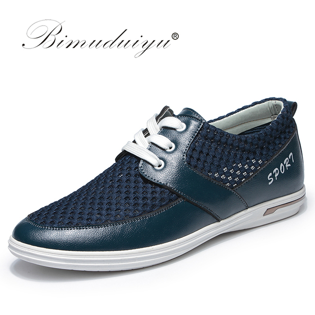 Bimuduiyu 2017 новые летние дышащие мужчин повседневная обувь сетки super cool прогулки зашнуровать плоские удобные свет trainner обувь