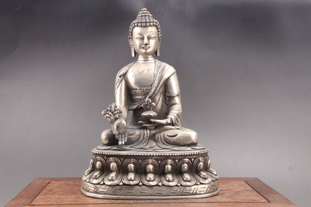 Squisito Cinese del tibet argento Intagliato A Mano Buddha Cupronichel statua di paktongSquisito Cinese del tibet argento Intagliato A Mano Buddha Cupronichel statua di paktong