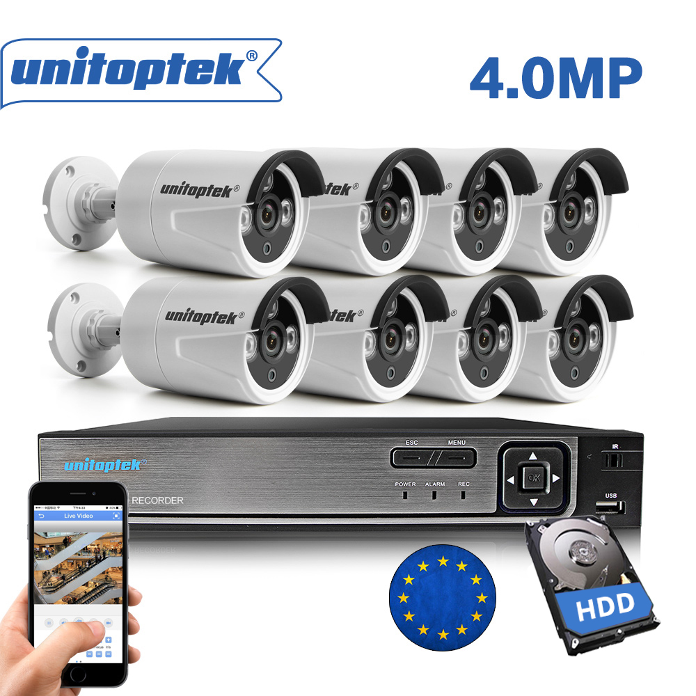 H.265 8CH 4MP комплект видеонаблюдения 8CH POE NVR HDMI видео Выход 8 шт. 4MP IP Камера Открытый обнаружения движения безопасности Системы комплект