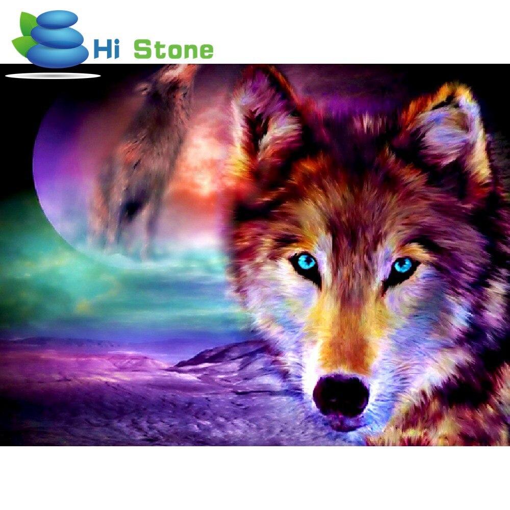 Diamond Вышивка Wolf Moon полный moasic Вышивка с кристаллами круглый смолы картина Домашний Декор Подарочная коробка Упаковка 70109