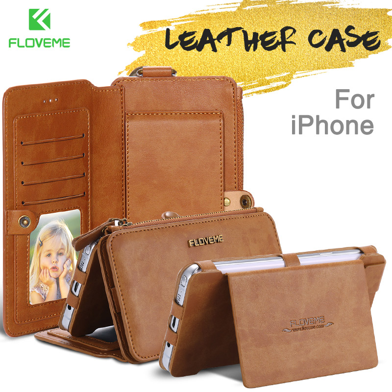 FLOVEME Original Leather Case For iPhone 6 6s 7 8 Plus Cases Card Slot Phone Cover For iPhone X XS Max XR Wallet Flip Funda Capa