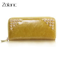 Zolanc Hot Selling The First Layer Of Leather Genuine Leather Women Long Section Rivet Wallet Clutch