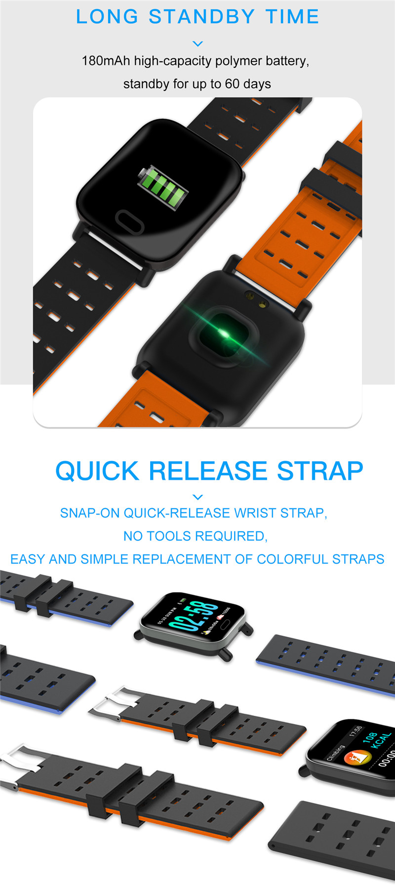 mafam A6 Smart Watch Heart Rate Monitor Sport Fitness Tracker Sleep Monitor blood pressure Waterproof Sport Watch Band for IOS Android (18)