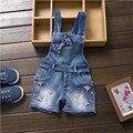2016 Venda de Verão Linda Menina Linda E Doce Estilo Roupas Da Moda Jeans de Lavagem de Roupas de Cowboy Azul Macacão Com Shorts