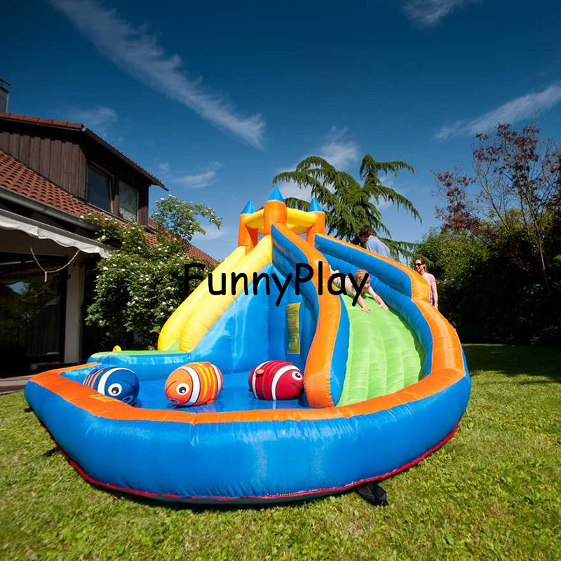 inflatable water slide pool with cannon happy summer for kids,newest hot sale 420D oxford inflatable slide water beach for rent funny inflatable slide water slide for sale