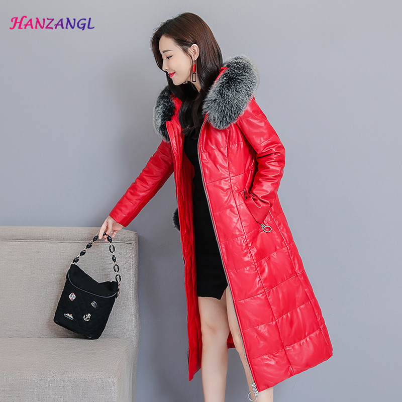 Best quality 2018 winter leather coat female medium long down jacket hooded large fur collar leather clothing Plus Size M~3XL