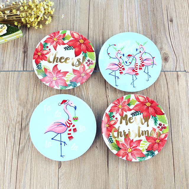 cartoon flamingo melamine dishes plastic christmas plate dinner tableware dish cake fruit steak tray dishes kitchen - Christmas Plastic Plates