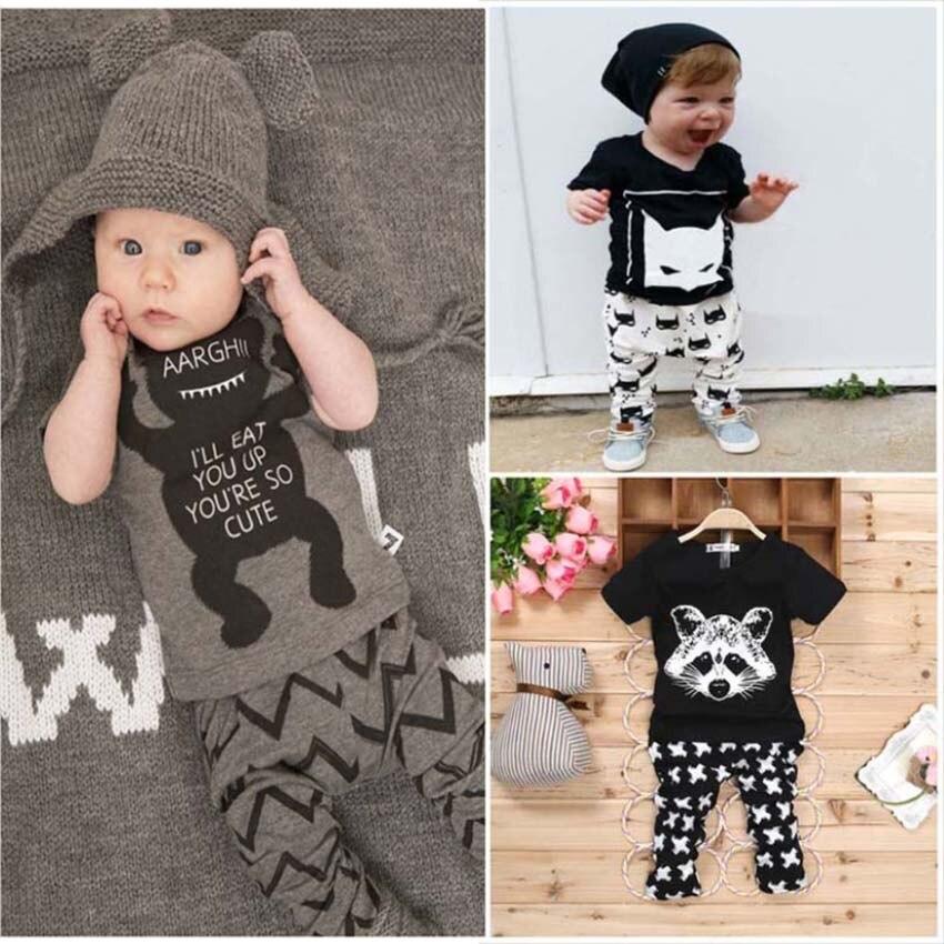 2016 Yeni yaz bebek giysileri setleri Pamuk kısa kollu bebek giysileri 2 adet bebek giyim setleri erkek bebek giysileri