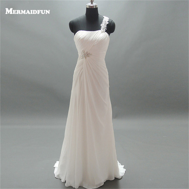 2019 Real Images A Line Appliques One Shoulder Pleated Beaded Chiffon Lace-up Back Elegant Wedding Dresses Bridal Gown