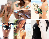 FGHGF Golden Metal Tattoo Sticker Creative Pattern Butterfly Woman Love Woman Henna DIY Body Art Waterproof Tattoo 120 sheets